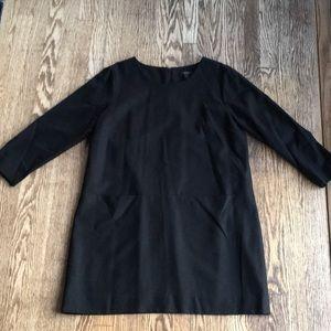 Black wool short back zip dress
